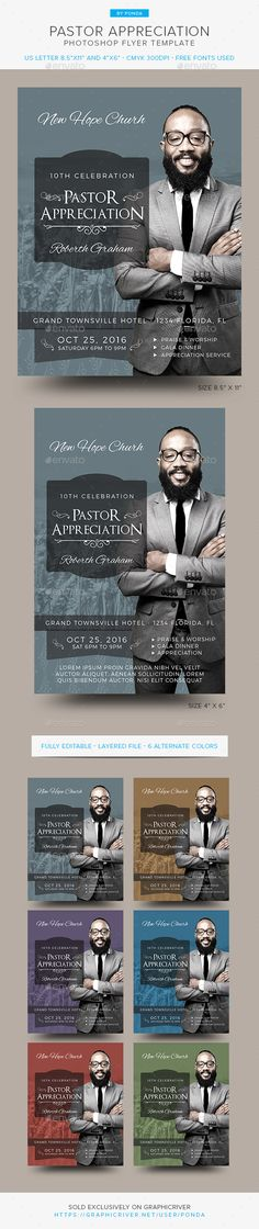 Pastor Appreciation Flyer Invitation  — PSD Template #leaders #appreciation • Download ➝ https://graphicriver.net/item/pastor-appreciation-flyer-invitation/18133354?ref=pxcr