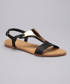 Take a look at this Black Shimmer Darlene Sandal by Jacobies Footwear on #zulily today!