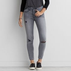 Hi-Rise Jegging (Jeans) ($50) ❤ liked on Polyvore featuring jeans, smoked grey, ripped jeggings, distressed jeans, long jeans, american eagle outfitters und american eagle outfitters jeggings