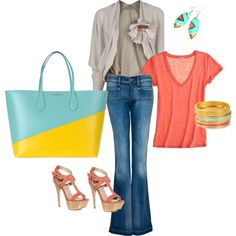 spring: peach & turquoise, created by jada on Polyvore
