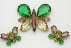 Gorgeous and highly collectible large vintage designer signed Hattie Carnegie figural butterfly brooch and earring set or demi parure.  The brooch or