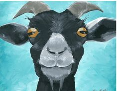 Goat art, goat decor. Goat print from original canvas painting. by HippieHoundUSA on Etsy