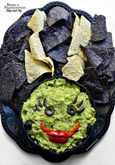 Bride of Frankenstein guacamole and chips!