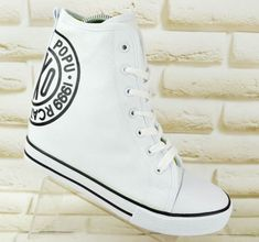 cd532792aa6 VICES-Canvas-Womens -Hi-Top-Trainers-Ankle-Shoes-Wedge-Sneakers-White-3-UK-36-EU