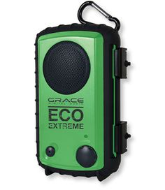 Eco Extreme Waterproof Speaker Case -  The rugged, rubberized body is shockproof and will float. Three-inch speaker delivers a crisp, clear sound. Two latches lock tightly to seal out moisture and prevent accidental opening. Internal compartment is big enough to also hold cash and credit cards as well. Pressure release valve ensures easy opening in all conditions. Detachable carabineer lets you hang it from a backpack, tent pole or tree. Runs up to 30 hours on three AA batteries.