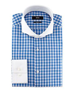 Slim Fit Contrast-Collar Check Dress Shirt, Light Blue by Hugo Boss at Neiman Marcus.