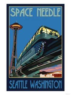 Vintage Travel Poster - Seattle