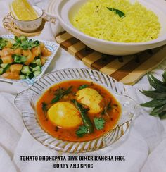 CURRY AND SPICE: TOMATO DHONEPATA DIYE DIMER KANCHA JHOL