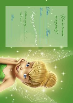 Tinkerbell coloring pages and invites Free printable Birthday