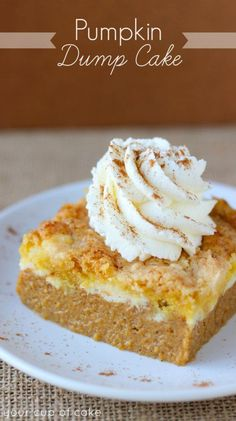 Pumpkin Cream Cheese Dump Cake (and how I got dumped) - From Your Cup of Cake (She really is one of my favorite girls!) Pumpkin Cream Cheese Dump Cake (and how I got dumped) - From Your Cup of Cake (She really is one of my favorite girls! Fall Desserts, Just Desserts, Dump Cake Recipes, Dessert Recipes, Bread Recipes, Pumpkin Cream Cheeses, Pumpkin Spice Cream Cheese Recipe, Desserts With Cream Cheese, Pumpkin Cream Pie