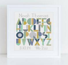Baby Deco in Rhythm and Blues colour palette   Caterpillar Cross Stitch - modern baby alphabet cross stitch kits