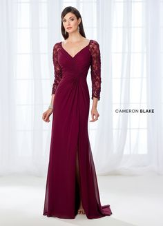 Cameron Blake 118672 - This enticing chiffon fit and flare gown offers beaded lace illusion three-quarter sleeves, a wide V-neckline, a directionally gathered bodice with an off center twist detail, and a side draped skirt with a side slit and a sweep train.