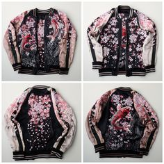 Super Rare Miyabi Musubi Japan Sakura Cherry Blossoms Floral Flowers Flower Heavy Embroidery Rising Koi Fish Tattoo Art Design Embroidered Embroidery Bomber Souvenir Sukajan Jacket ( Size : S ) - Japan Lover Me Store