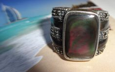 RARE Heavy Black Abalone Shell W/ Marcasite Estate Ring, size 5.5 - COLLECOR's ITEM