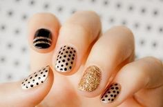 Easy Polka Dots Nail Art Inspirations - Well, polka-dot nail art is on the air! Techniques nail art motive is fairly easy really know, dear. Glitter Manicure, Sparkle Nails, Manicure E Pedicure, Fancy Nails, Gold Nails, Pretty Nails, My Nails, Black Nails, Gold Glitter