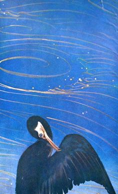 Vintage Japanese Print Great Cormorant, Stone and Water BLUE by VintageFromJapan, $12.00  #art #blue #vintage #paper #painting #print #Japan