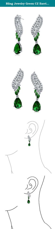 Bling Jewelry Green CZ Earrings Art Deco Style Rhodium Plated. Glorious in green. The Art Deco Style that became popular in Paris in the 1920s and remained so until today, is exhibited in this remarkable pair of Simulated Emerald cu chandelier earrings. What a way to help celebrate a May birthday or simply enjoy wearing your favorite color when you want to be chic and stylish for that special formal affair. In terms of colors and their psychological meanings, green is considered soothing...