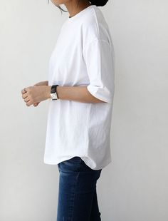 #white #shirt #denim minimalistic chic