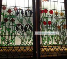Fabulous Antique Stained Glass Windows Photos and Information in AncientPoint Antique Stained Glass Windows, Art Nouveau Flowers, Glass Artwork, Window Dressings, Ruby Lane, Antiques, Image Search, Butterfly, Painting