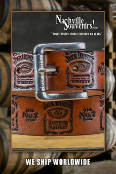0ac778cf5f81 Officially licensed Men's Brown Jack Daniels Logo Stamped Belt that  features a repetitive pattern of stamped