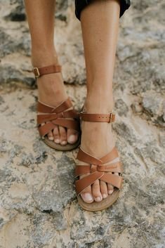 Salt Water Sandals in Tan | ROOLEE