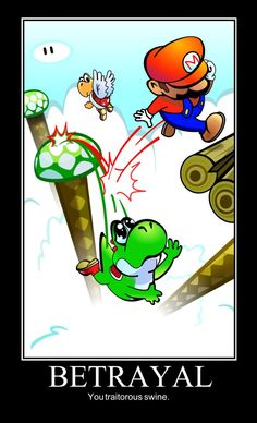 Brutus (Mario) pushed Caesar (Yoshi) down, killing him. He used that to lift his own position in society, much like Mario pushed himself up. Super Mario Bros, Super Mario World, Super Mario Memes, Mundo Super Mario, Super Smash Bros, Super Nintendo, Yoshi, Video Games Funny, Funny Games
