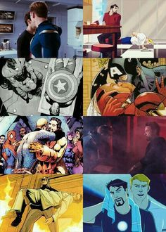 Stony Steve and Tony will always have a complex relationship. And I hope they will always find a way to be friends. Stony Avengers, Superfamily Avengers, Stony Superfamily, Spideypool, Marvel Avengers, Marvel Funny, Marvel Dc Comics, Memes Chats, Steve Rogers