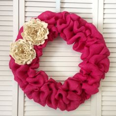 """Large Pink Spring Wreath, Burlap Wreath with Ivory Burlap Flowers, 20"""" Spring Wreath, Door Wreath for All Year"""