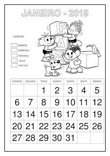 Calendário 2019 - Turma da Mônica Thing 1, Feeling Happy, Live Life, Education, Feelings, Rose, School Calendar, Math Teacher, Cursive