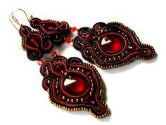 black fire   soutache earrings  free shipping by KimimilaArt, $45.00
