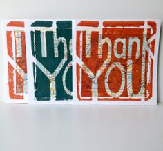 Hand Printed Linocut Thank You Cards Set of 3 by TangibleType, $12.00