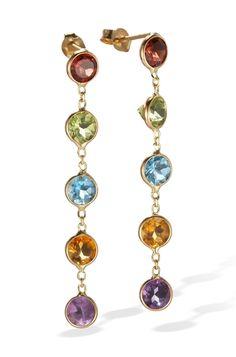 Fine Jewelry Multicolor Genuine Gemstone 14K White Gold Drop Earrings aqySY1911w