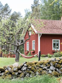 Traditionally red Swedish house in the countryside