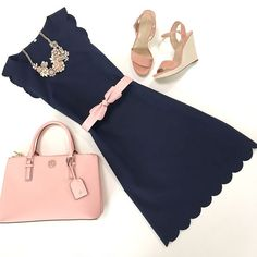 Obsessed with this scalloped dress from and it can be paired with soft or hot pink accessories! Pretty Outfits, Cute Outfits, Navy Dress Outfits, Looks Style, My Style, Stylish Petite, Fashion Outfits, Womens Fashion, Fashion Trends