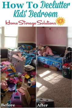 Before and after photos when get rid of kids' bedroom clutter {on Home Storage Solutions 101} #BedroomClutter #DeclutterBedroom #DeclutteringBedroom Toy Storage Solutions, Clutter Solutions, Diy Furniture Building, Diy Kids Furniture, Home Organization Hacks, Organizing Your Home, Organizing Tips, Kids Bedroom Storage, Diy Bedroom