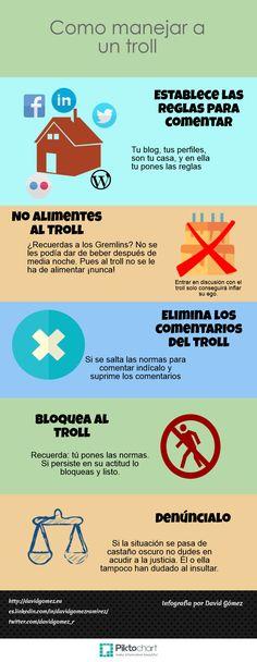 Cómo tratar a un troll. infografía en español. #CommunityManager