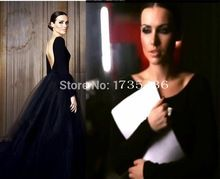 Simple Vintage Long Backless Tulle Bridal Ball Gowns Gothic Black Bohemian Wedding Dresses With Long Sleeves Robe De Mariage(China (Mainland))