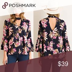 •COMING SOON• Floral Choker Style Blouse Brand new, arriving next week. Non sheer and 100% rayon. Will be available in small, medium and large for $39. Comment below ⬇️ for arrival notification. Made in  Tops Blouses