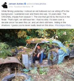 Jensen has found the original Impala from season one on the SPN lot - it appears now to be a container garden! ;)