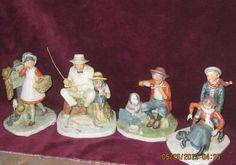 Set of 4 Beautiful Norman Rockwell's Figurines by Gorham All Were Made in 1974 Norman Rockwell Figurines, Norman Rockwell Art, Antique Pottery, Vintage Home Decor, Vintage Antiques, Shops, Glass, Illustration, Artwork