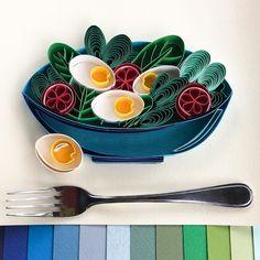 "Paper salad bowl fresh salad art. Quilling healthy salad  all_art_21 on Instagram: ""Something new here🍴 Something fresh🥗 . . . . . . #quilling #freshsalad #quillingart #quilledpaperart #quillingcreations #quillingpaperart…"" Quilled Paper Art, Quilling Art, Something New, Salad Bowls, Healthy Salads, All Art, Artworks, Fresh, Tableware"