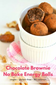 Say hello to chocolate brownie no bake energy balls - your new favorite healthy snack! They're gluten free, dairy free, vegan and made with just 4 ingredients. #Healthy #Food #Recipe #Vegan #GlutenFree #GF #DairyFree #DF #Snack #Dessert #Chocolate Healthy Breakfast Bowl, Healthy Sweet Snacks, Healthy Dessert Recipes, Vegan Snacks, Fruit Recipes, Healthy Desserts, Snack Recipes, Healthy Food, Happy Healthy