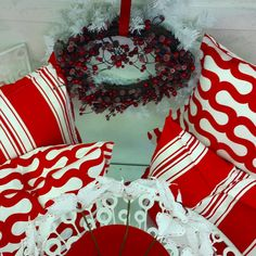 """New Geometric Print called """"Shirley"""" and co-ordinating stripes in a postbox red as part of a Christmas decor display..."""