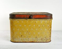 vintage tin bread box.