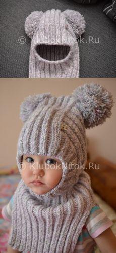 Шапочка-шлем для малышки | Вязание для девочек | Вязание спицами и крючком. Схемы вязания.