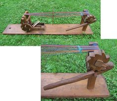 """Bandwebstuhl/band loom  Old, hand-carved band loom from Styria, Austria. As the irregular teeth of the gear wheels and countless traces of carving prove (see detail below right) this band loom was made without the aid of machines. Length 48""""."""
