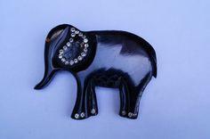 1930s carved black bakelite elephant with rhinestones brooch