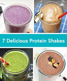 7 Delicious Protein Smoothie Recipes - Life by DailyBurn Mmm papaya ginger sounds good! Protein Smoothies, Healthy Protein Shakes, Protein Desserts, Protein Powder Recipes, Protein Shake Recipes, Healthy Drinks, Healthy Snacks, Detox, Party Favors