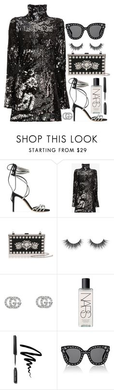"""#PolyPresents: Party Dresses"" by zada ❤ liked on Polyvore featuring Alexandre Vauthier, Halpern, Manolo Blahnik, Gucci, NARS Cosmetics, Bobbi Brown Cosmetics, contestentry and polyPresents"