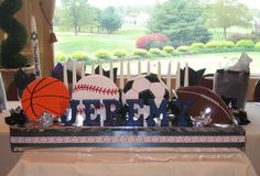 Sports theme candle lighting board for Bar Mitzvah candle lighting ceremony by Total Party.  See more at Total-Party.com